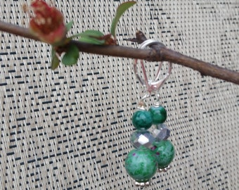 Green and Silver Beaded Dangle Earrings