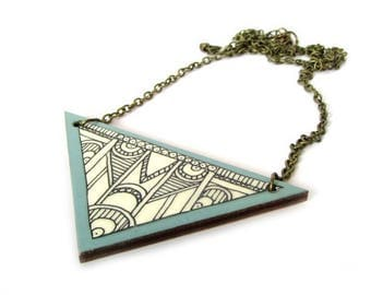 Triangle Necklace - Illustrated Necklace - Geometric Jewellery - Art Deco - Wooden Laser Cut Pendant - Contemporary Jewellery - Duck Egg