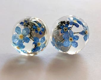 Real English Blue Spring Flower/Forget Me Not studs