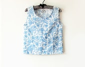 Blue Floral Singy Top in up-cycled cotton