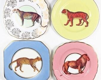 Big Cats plate set