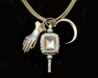 MoonsCuriousItems-Lovely Georgian Citrine & Bloodstone Gold Watch Key Pendant Fob Necklace