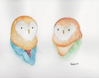 Owl Couple- Print of my original illustration