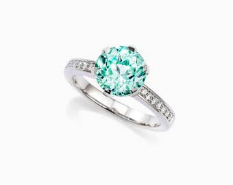 2.52ct Green tourmaline engagement ring, diamond engagement ring, white gold, light green tourmaline, mint green, unique, solitaire, thin