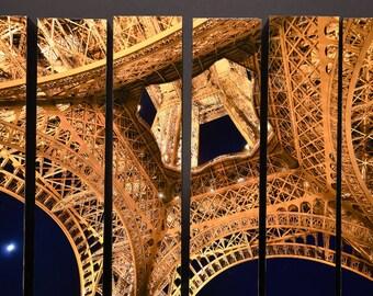 Moon Over Eiffel, Paris, France, McArthur Vertical Wood Blocks