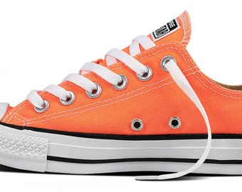 Converse Orange Hyper Red Canvas Low Top Converse Trainers w/ Swarovski Crystal Rhinestone Bling Chuck Taylor All Star Kicks Sneakers Shoes
