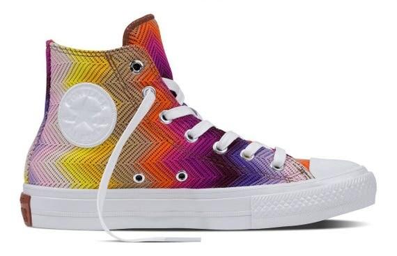 Converse High Top Missoni Multicolor Rainbow 2017 Collection Custom w/ Swarovski Crystal Rhinestone Bling Chuck Taylor All Star Sneaker Shoe