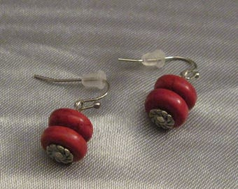 Red Magnesite and Silver Earrings, Simple Stone Earrings
