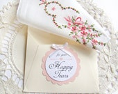 Happy Tears Wedding Hanky Vintage White Pink Floral Handkerchief Mother of Bride Gift Mother of Groom Gift Something Old Maid of Honor Gift,