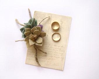 Succulent Boutonniere, Felt Flowers, Wedding Flowers, Alternative Flowers, Lapel Pin, Groom's Flower, Buttonhole, Earthtone Mens Boutonniere