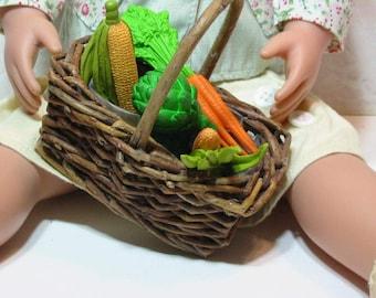 American Girl Doll Size 18 inch Doll Food Farmer's Market Fresh Fruit or Vegetable Basket
