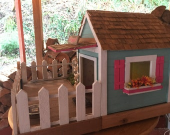 Small Beach Cottage Dog House Indoor Outdoor - Custom Built