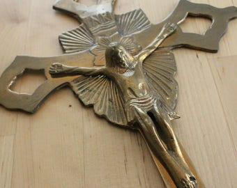 Vintage Crucifix Thick Brass Jesus, Gold Cross Wall Art, Religious INRI Faith, Ornate Christian Cross,vintage ornate crucifix,Brass crucifix