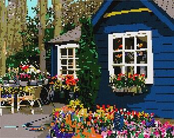 Needlepoint Kit or Canvas: Flower Shop