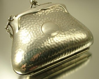 Antique / vintage Victorian / Edwardian EPNS silver plated coin purse, misers purse, sovereign purse