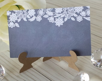 Chalkboard PlaceCard - Vintage Lace Chalkboard Print Escort/Place Card - With Easel Holder - Personalized - Wedding Place Card - PC100