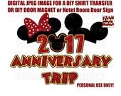 Printable Wedding Anniversary Disney Themed Mouse Hats Shirt Transfer DIY Disney Shirts Anniversary Shirts Cruise Door Magnet Shirt Iron On