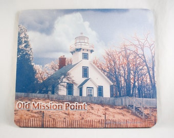 Mousepad, Lake Michigan Lighthouse Design 2, Office Décor, Photograph, Artistic, Office Accessory