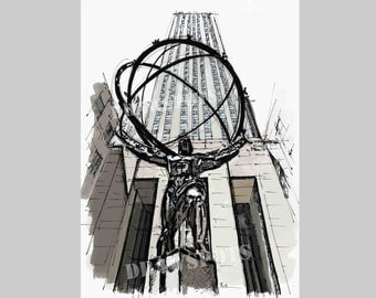 Atlas sculpture sketch at Rockefeller Center,New York. Titan, Zeus, Olimpo, Handmade drawing Art Print,wall print for office or men's cave