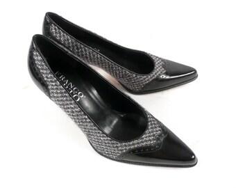 Vintage 90s Franco Sarto Black and Gray Leather Wool WingTip Spectator Heels Pumps 6.5 - 7 M
