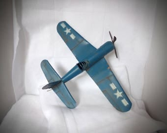 Antique  W W 2 ,Toy Metal Plane .Model Air Plane .  Pearl Harbor Toy Plane .Collectible Planes . Military Toy Planes .1940s Toy Plane .