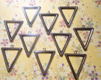 10 Silverplated Triangle Earring Dangles Drops