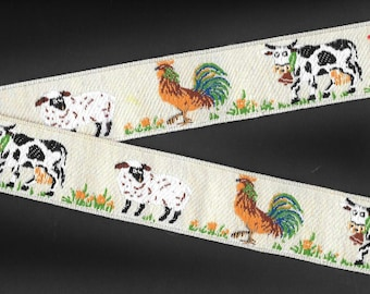 "ANIMALS/FARM VINTAGE Jacquard Ribbon Trim, Made in Germany, Cotton/Poly, 1-5/8"" Wide, Cream Background w/Sheep, Cows & Roosters, Per Yard"