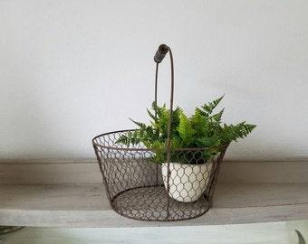 Chicken Wire Basket Metal Basket with Handle Farmhouse