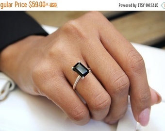 SUMMER SALE - Rectangle ring,black onyx ring,unique rings,delicate gemstone ring,silver ring,925 silver stack ring