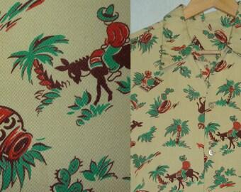 1940s Shirt / L / Mexican / Tourist / Novelty / Cartoon / Rockabilly / 1940s Hawaiian Shirt / 1950s Shirt / Cabana / 1950s Mens Shirt / VLV