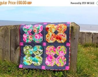 Spring Quilt Sale Floral Patchwork Quilt, Grey Pink and Blue Flower Pattern, Lap Quilt Baby Blanket