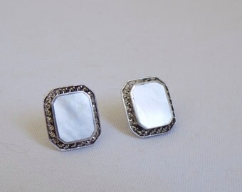 Signed Sterling Silver Vintage Mother of Pearl Square Pierced Stud Earrings Surrounded by Marcasite - Antique Style Fine Jewelry MOP Shell