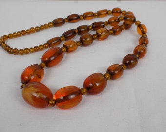 Art Deco Amber Butterscotch Colored Faux Bakelite Graduated Chunky Beaded Necklace Hippie Boho Vintage MidCentury Jewelry Translucent Lucite