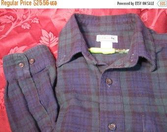 SALE Vintage LL Bean Men's Brushed Cotton Flannel Plaid shirt, NOS which i have washed, Size L Reg Blue Green Black Tartan Plain