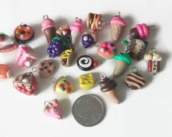 25 Piece Assorted Charms Polymer clay food, food charms, miniature food, jewelry making, handmade charms, kawaii, assorted charms, gag gifts
