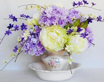 Silk Flower Arrangement, White with Lime Green Peonies, Lavender Hydrangea, Artificial Flower Arrangement, Silk Floral Decor, Home Decor,
