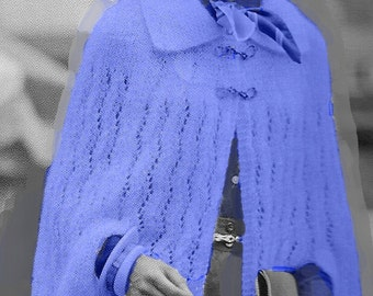 Almost FREE Vintage Knitted Lace Weave Cape #320 PDF Digital Knit Pattern