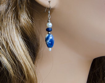 Blue and White Gemstone Dangle Earrings with Sodalite, Lapis Lazuli, White Pearls, & 925 Sterling Silver, Handmade, Genuine Natural Stone