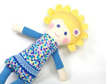 30% OFF soft jersey doll | Cleo snuggle doll | blue and purple knit cloth doll | girl rag doll | handmade doll | girl fabric doll