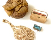 Collection of Antique Items - Doll's Straw Purse, Crocheted Purse, Paper Cradle and Small Sewing Basket with Ribbon