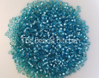 11/0 Czech Glass Rocaille Seed beads Silver Lined Aqua - Sky Blue Sea Aquamarine Peyote Beads Embroidery High Quality