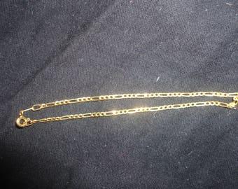 Vintage 14k Figaro Solid Yellow Gold Chain Bracelet Designer SMG Made in Italy, 14K Gold Bracelet, Linked Gold Bracelet, SMG. SMG Bracelet