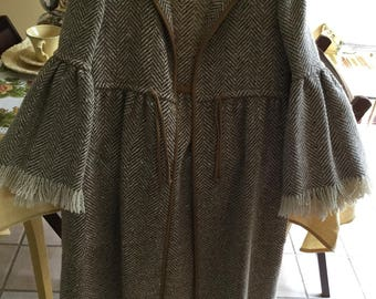 Women's Vintage Sills Saks Fifth Avenue Bonnie Cashin Design Wool a Fashion Coat with Leather Trim