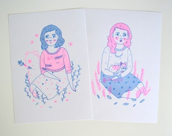 Dog Dream and Cat Nap Risograph Prints