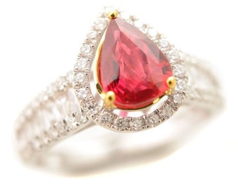 Certificate 1.53ct Pigeog Blood 14k Gold Natural Ruby & Diamond Ring No Heating
