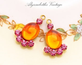 Art Deco Vintage Orange Hyacinth & Rose Pink Swarovski Rhinestone Earring Drops Fan Dangles 19mm Long - Pair