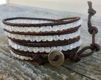 moonstone silver beaded leather wrap bracelet rainbow white stone faceted sparkle multi four strand