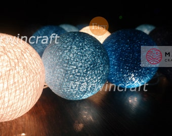 20 Cotton Balls Blue Ocean Tone Fairy String Lights Party Patio Wedding Floor Table or Hanging Gift Home Decor Christmas Bedroom