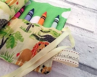 Jungle (Yellow) Crayon Roll, Pencil Roll, Crayon Holder, Pencil holder, Birthday Favors, Stocking Fillers