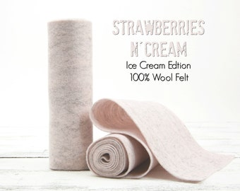 "100 Percent Wool Felt Roll - Wool Felt color STRAWBERRIES N CREAM - 5"" X 36"" Wool Felt - Pastel Heather - Ice Cream Edition Felt"